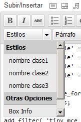 Estilos en editor visual tinymce wordpess