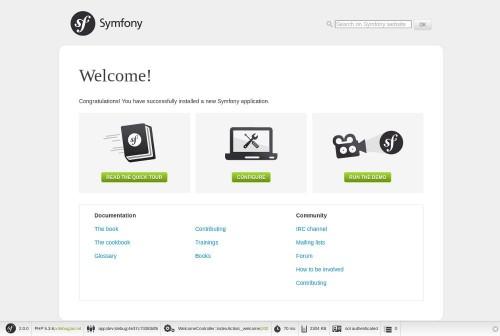 Pantalla de bienvenida de Symfony2