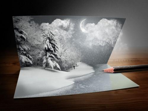 Original e impresionante tarjeta de navidad con photoshop