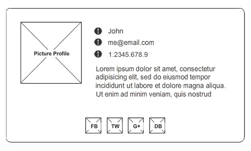 vCard Wireframe